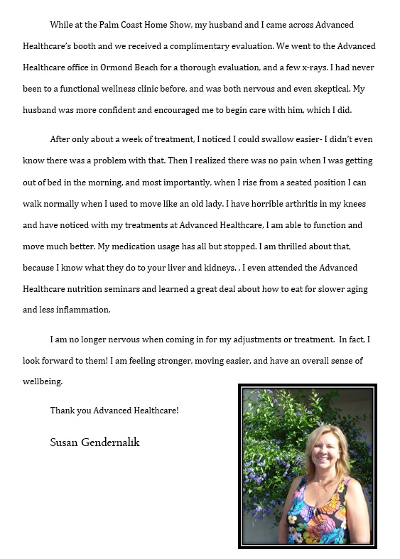 Testimonial for Advanced Healthcare and Physical Medicine from Sue Gendernalik.